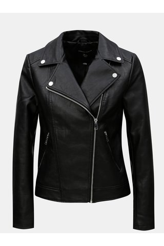 Jacheta neagra biker din piele sintetica Dorothy Perkins