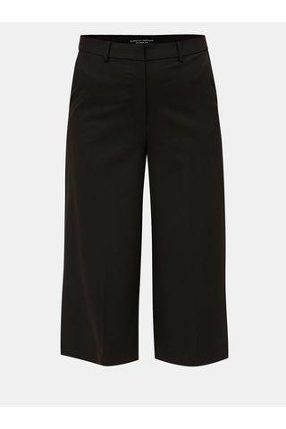 Pantaloni culottes plisati negri cu talie inalta Dorothy Perkins