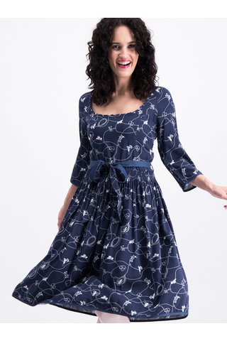 Tmavě modré vzorované šaty Blutsgeschwister