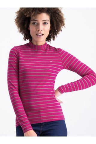 Šedo-růžové pruhované tričko se stojáčkem a dlouhým rukávem Blutsgeschwister