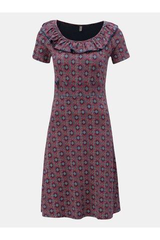 Modro-vínové vzorované šaty s volánem Blutsgeschwister