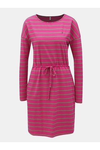 Šedo-růžové pruhované šaty s dlouhým rukávem Blutsgeschwister