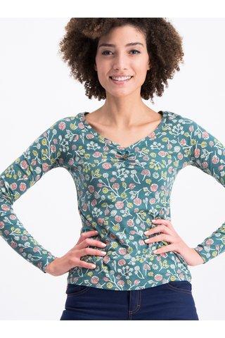 Zelené květované tričko s dlouhým rukávem Blutsgeschwister