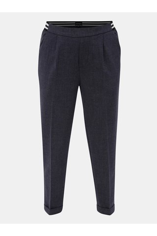 Pantaloni de dama albastru inchis crop cu talie elastica Broadway Gabby