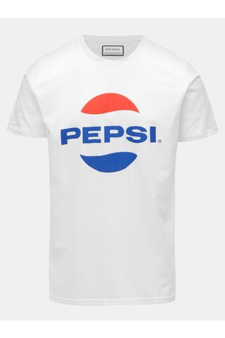 Tricou alb cu print Shine Original Pepsi