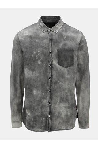 Camasa gri inchis cu aspect prespalat Shine Original