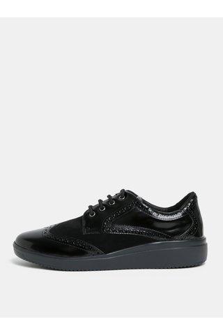Černé lesklé tenisky s jemným plastickým vzorem Geox Tahina