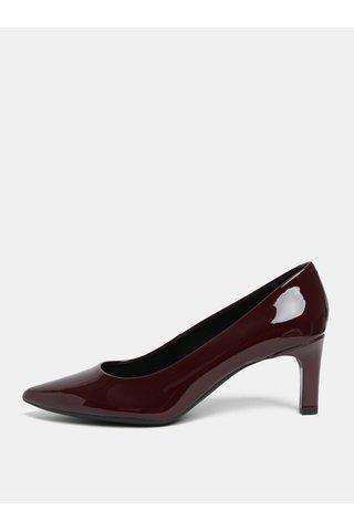 Pantofi visinii cu aspect lucios din piele cu toc Geox Bibbiana