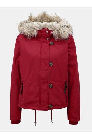 Jacheta rosie cu gluga cu blana detasabila ONLY