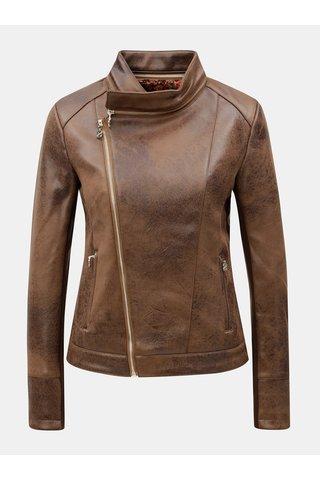 Jacheta biker maro din piele sintetica cu detalii aurii Desigual Merlin