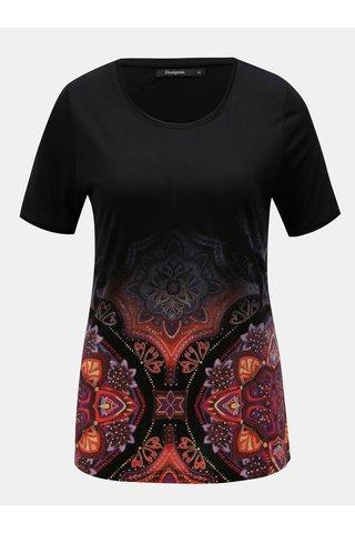 Tricou visiniu-negru cu print Desigual