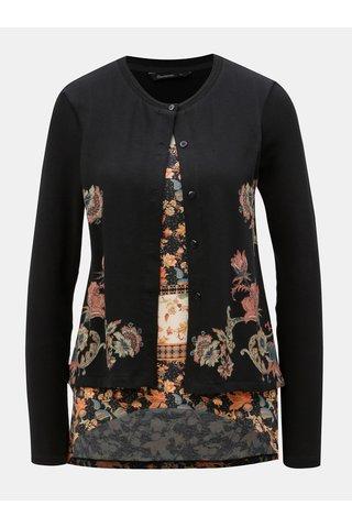 Cardigan negru cu tricou cusut cu model Desigual