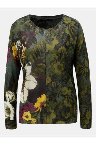 Pulover verde lejer floral Desigual