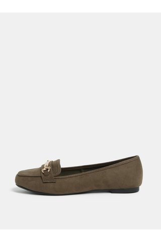 Mocasini kaki din piele intoarsa cu detaliu auriu Dorothy Perkins Lair