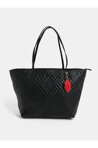Geanta shopper neagra matlasata din piele sintetica cu pandantiv Desigual Claudia
