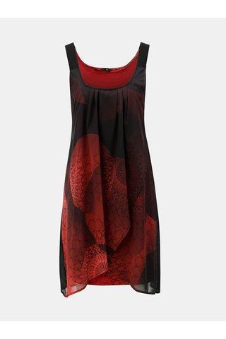 Rochie negru-rosu cu partea din fata suprapusa Desigual