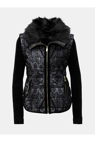 Jacheta/vesta negru-gri cu model si blana artificiala Desigual Alexandra