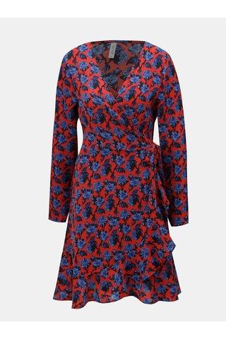Rochie albastru-rosu cu model floral, croi suprapus si volan Blendshe Trophy
