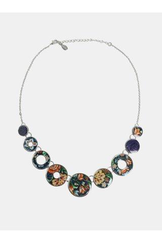 Colier albastru inchis cu model floral Desigual Kora
