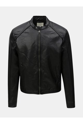 Černá koženková bunda Jack & Jones Biker