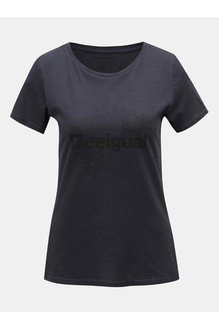 Tricou negru cu print Desigual
