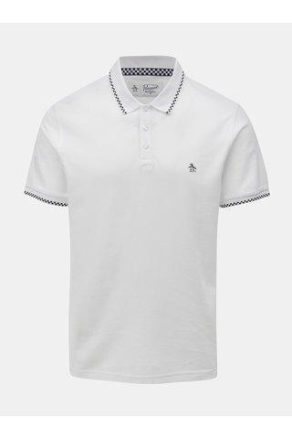 Bílé polo tričko s kostkovanými detaily Original Penguin Check Tipped