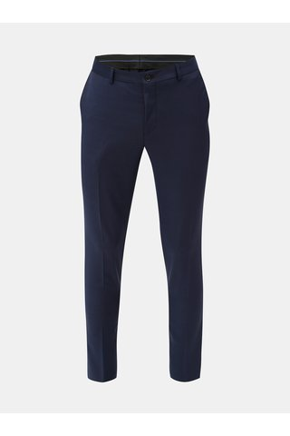 Pantaloni formali albastru inchis cu amestec de lana Jack & Jones Laris