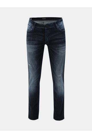 Blugi albastru inchis slim fit din denim cu aspect uzat Jack & Jones Original