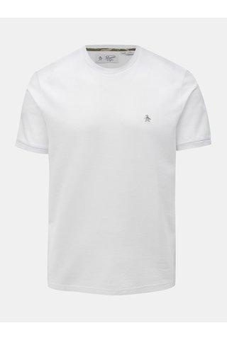 Tricou alb cu broderie discreta Original Penguin Camo logo