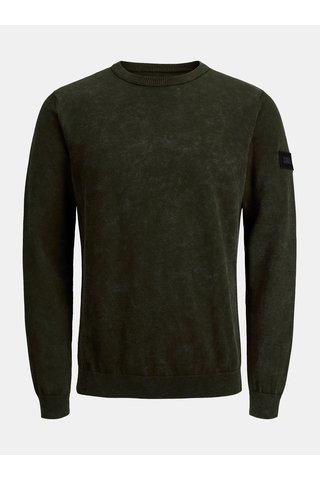 Khaki žíhaný lehký svetr Jack & Jones Knit