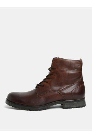 Tmavě hnědé kožené kotníkové boty Jack & Jones Worca