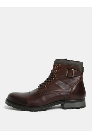 Tmavě hnědé kožené kotníkové boty s pžezkou Jack & Jones Bany