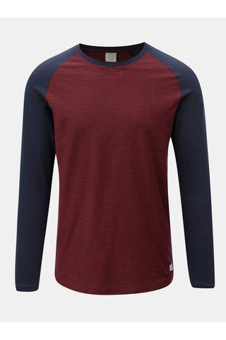 Modro-vínové pánské lehce žíhané tričko s dlouhým rukávem Jack & Jones