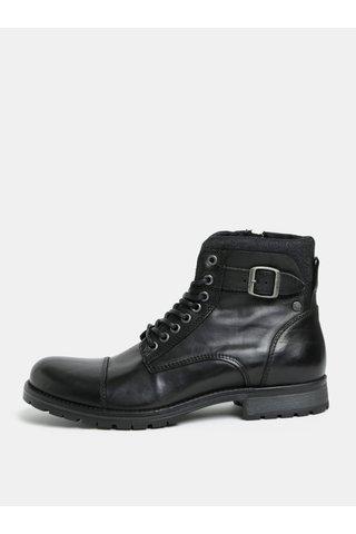 Černé kožené kotníkové boty s přezkou Jack & Jones Bany