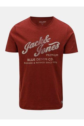 Cihlové tričko s potiskem a s krátkým rukávem Jack & Jones Super Tee