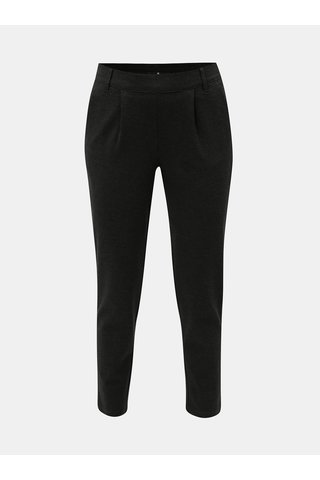 Pantaloni crop gri inchis melanj cu talie inalta Jacqueline de Yong Betty