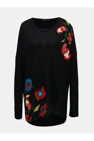 Tunica neagra cu print floral si maneci lungi Desigual