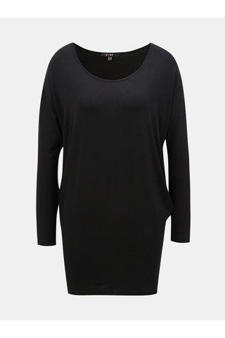 Tricou negru lejer basic mai lung Yest