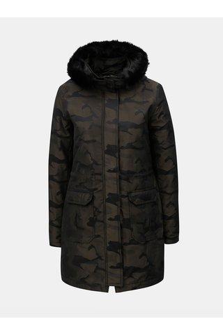 Geaca parka de iarna verde camuflaj cu blana artificiala Yest