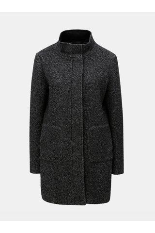 Tmavě šedý žíhaný vlněný kabát Yest