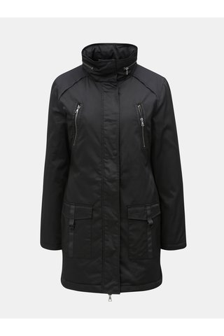 Černá dlouhá bunda s kapucí v límci Yest