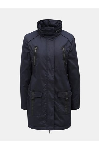 Jacheta lunga albastru inchis cu gluga ascunsa in guler Yest