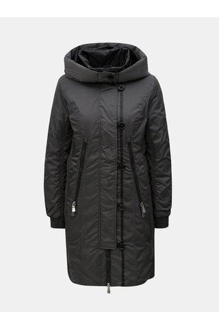Tmavě šedá dlouhá zimní bunda s umělým kožíškem Yest