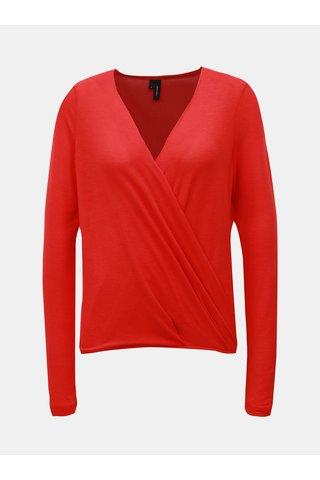Tricou rosu cu partea din fata suprapusa VERO MODA Peja