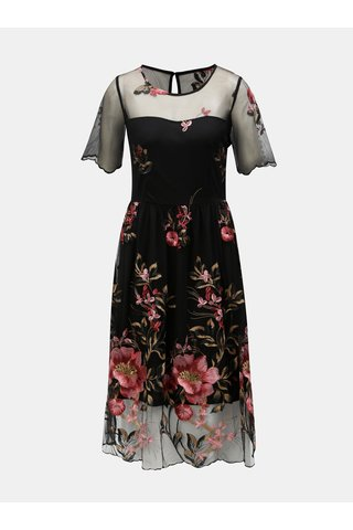 Rochie neagra cu broderie florala VILA Perno