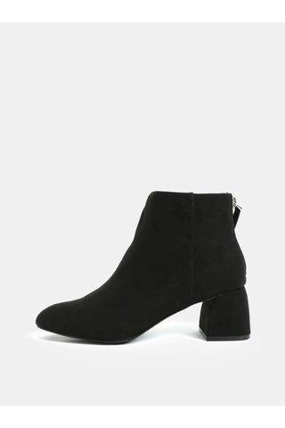 Černé kotníkové boty v semišové úpravě na podpatku Pieces Daja