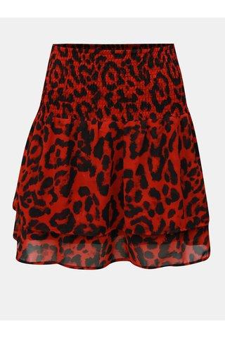 Fusta negru-rosu cu model si banda elastica in talie Noisy May Jean