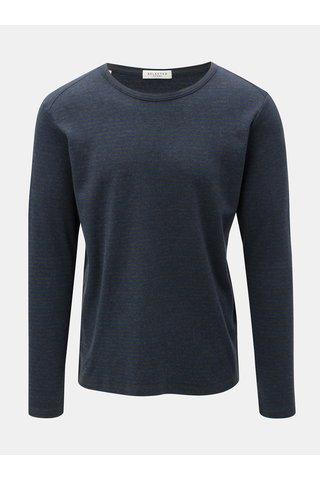 Tricou albastru-gri in dungi cu maneci lungi Selected Homme Hedwin