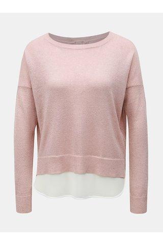 Růžový třpytivý svetr s všitým dílem ONLY Darling