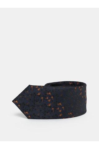 Cravata slim florala albastru inchis Selected Homme Valdemar